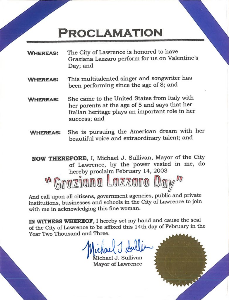February 14, 2003 named Graziana Lazzaro Day – Lawrence, MA