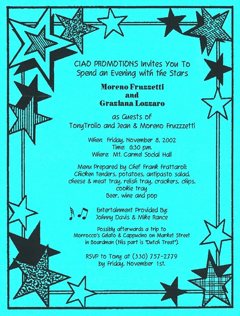 "Ciao Promotions presents Dinner & Show ""Evening with the Stars"" – Youngstown, OH"