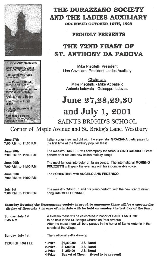 72nd Annual Feast of St. Anthony Da Padova – Westbury, NY