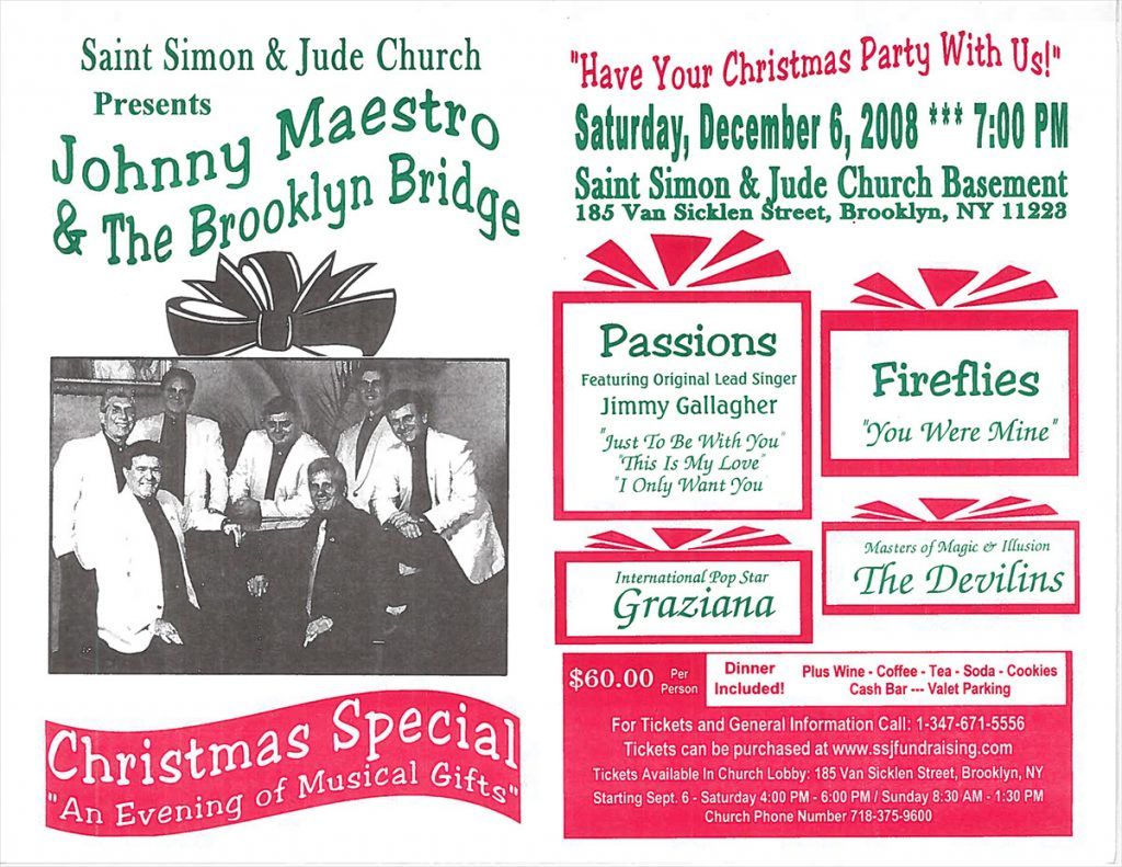 Opening Act for Johnny Maestro & The Brooklyn Bridge Christmas Special – Brooklyn, NY
