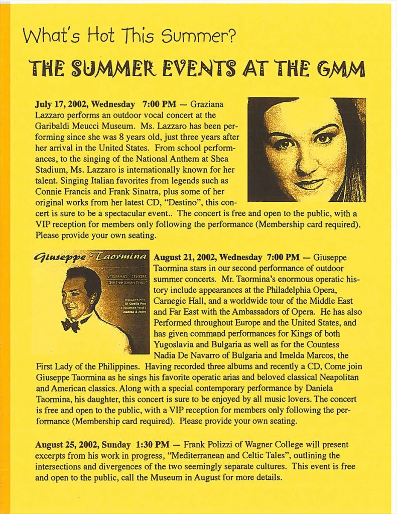 Summer Events at the GMM – 07/11/2002