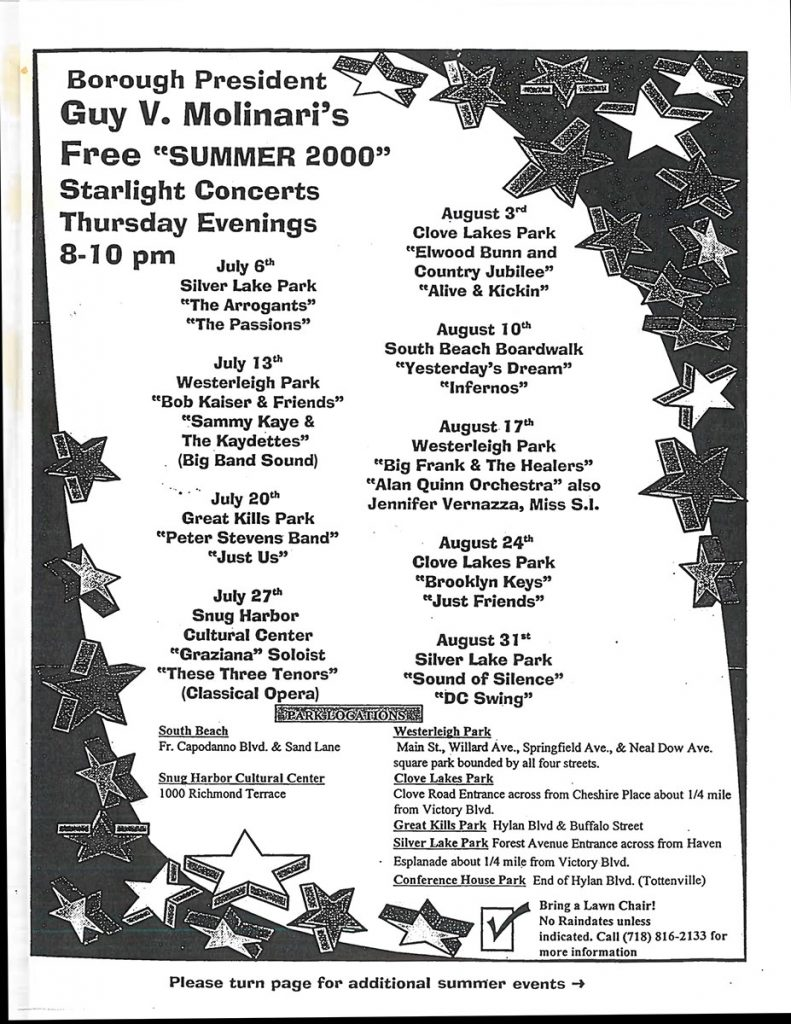 Summer 2000 Starlight Concerts Series Snug Harbor Cultural Center – Staten Island, NY