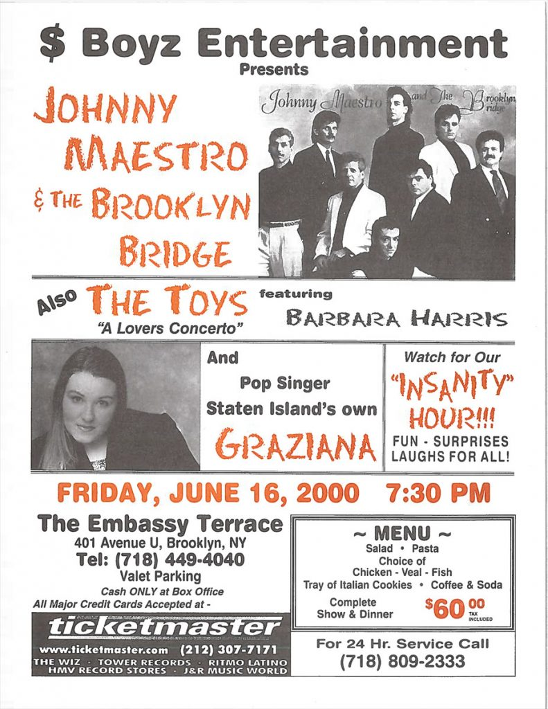 Opening Act for Johnny Maestro & the Brooklyn Bridge – Brooklyn, NY