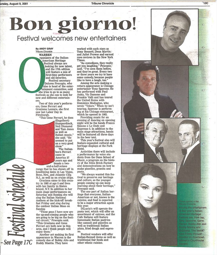 Tribune Chronicle Article for the 17th Annual Warren Italian-American Heritage Festival – Warren, OH