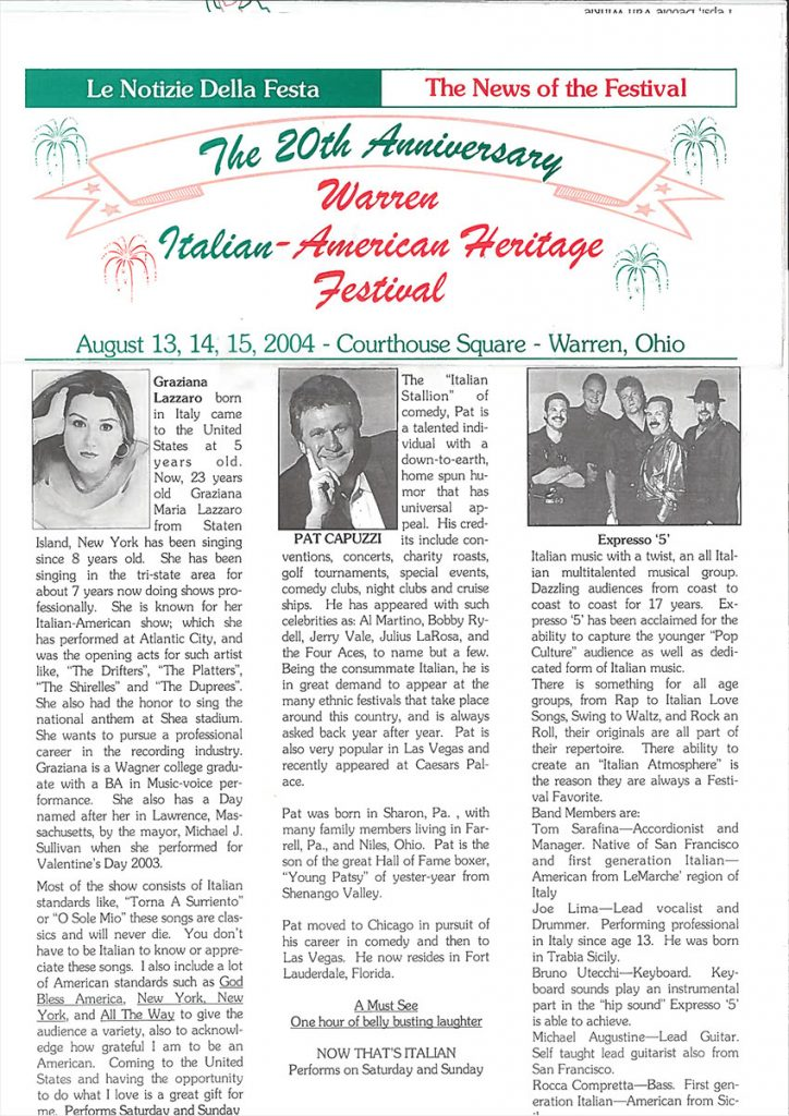 20th Annual Warren Italian-American Heritage Festival – Warren, Ohio
