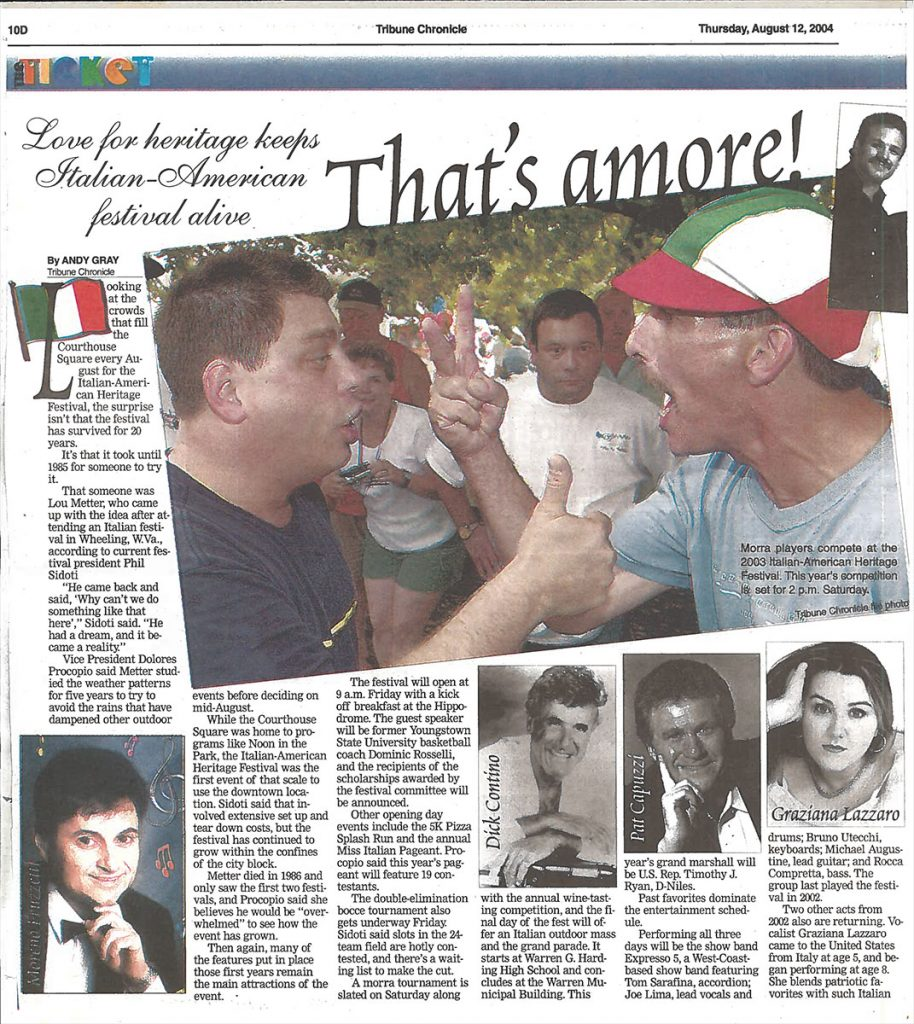 Tribune Chronicle Article for the 20th Annual Warren Italian-American Heritage Festival – Warren, Ohio