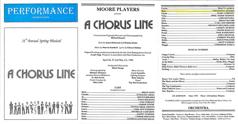 A Chorus Line Musical Moore Catholic High School – Staten Island, NY