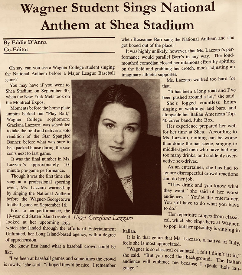 Wagner Student Sings National Anthem at Shea Stadium