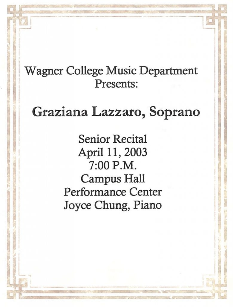 Senior Recital Graziana Lazzaro, Soprano – Staten Island, NY